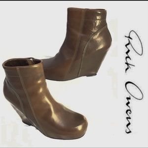 Rick Owens Chocolate Brown Wedge Booties Excellent